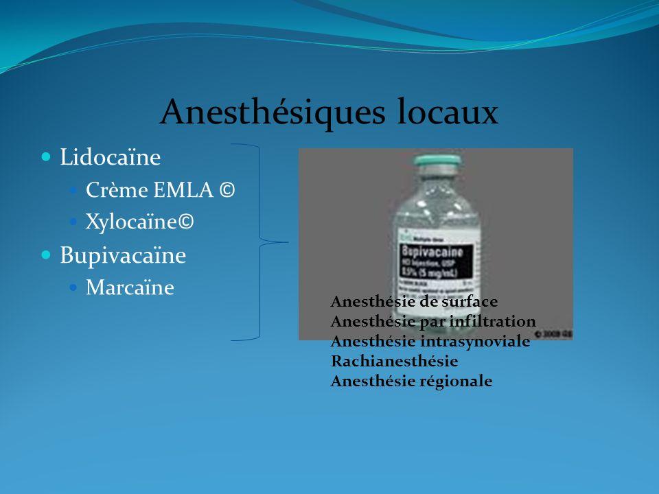 Anesthésiques locaux Lidocaïne Bupivacaïne Crème EMLA © Xylocaïne©