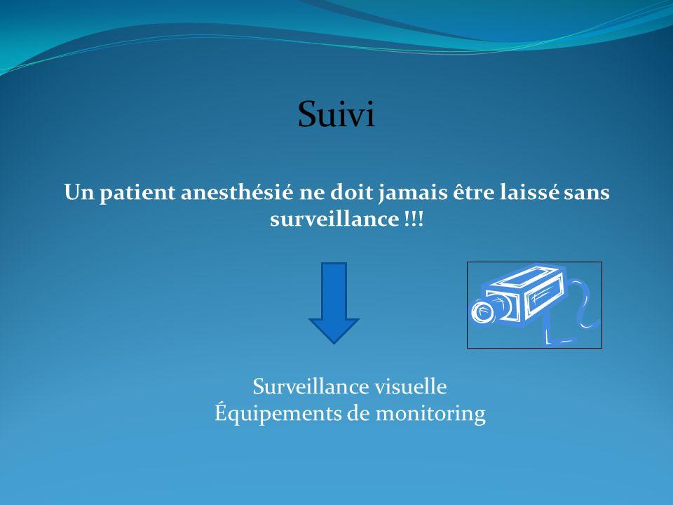 Un patient anesthésié ne doit jamais être laissé sans surveillance !!!