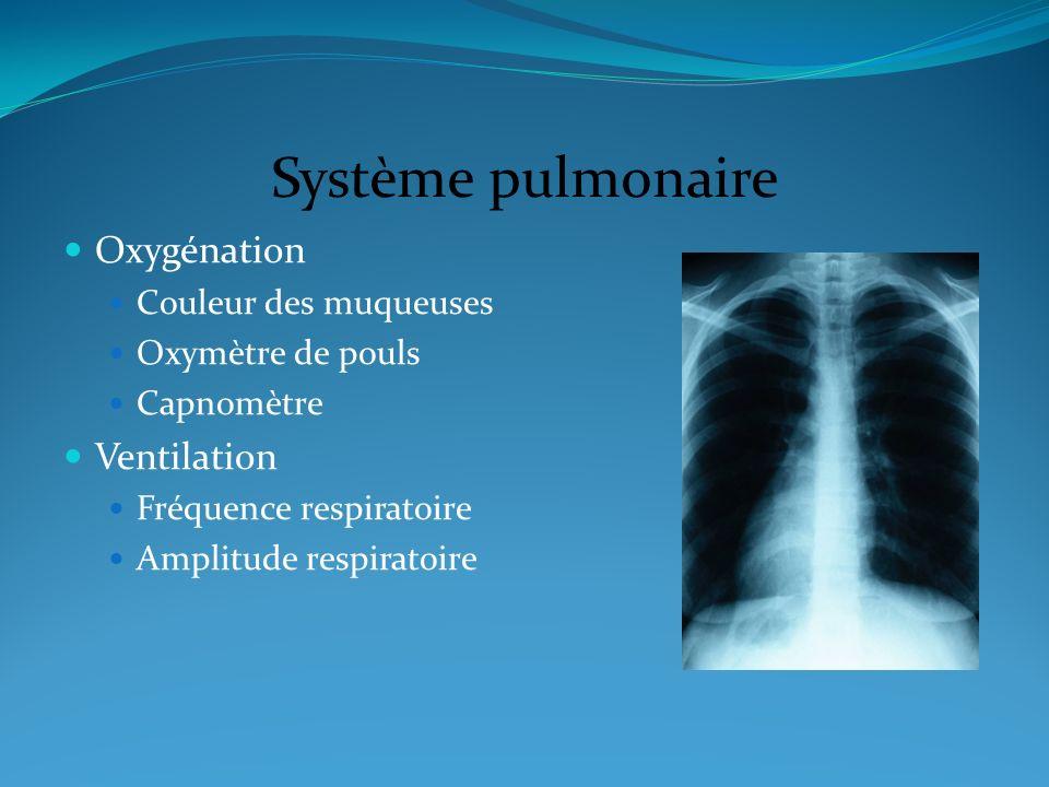 Système pulmonaire Oxygénation Ventilation Couleur des muqueuses