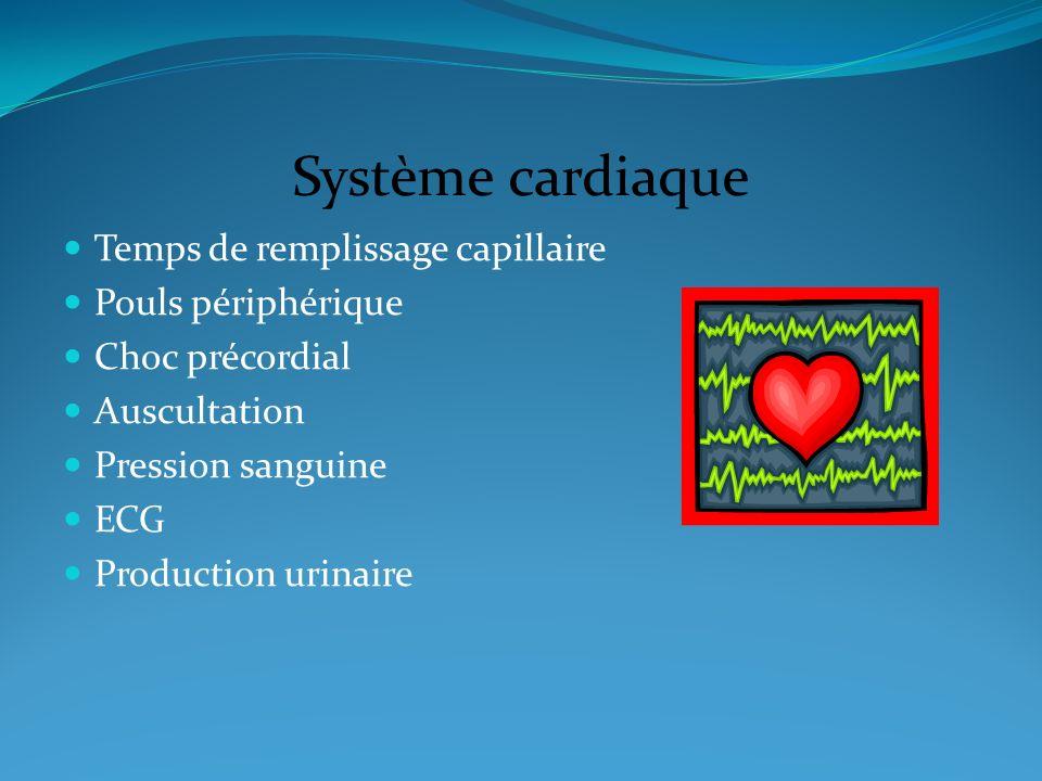 Système cardiaque Temps de remplissage capillaire Pouls périphérique