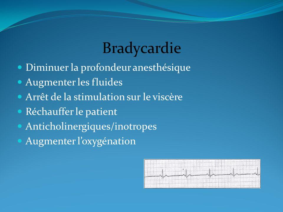 Bradycardie Diminuer la profondeur anesthésique Augmenter les fluides
