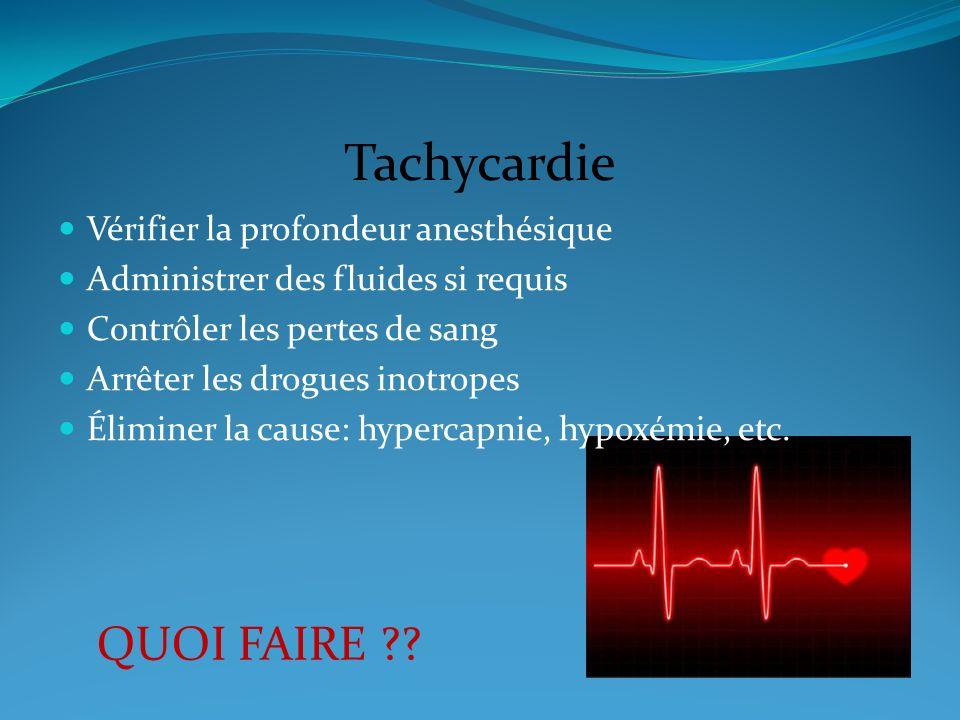 Tachycardie QUOI FAIRE Vérifier la profondeur anesthésique
