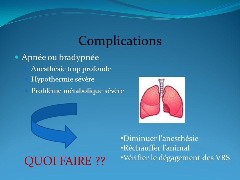 Complications QUOI FAIRE Apnée ou bradypnée Diminuer l'anesthésie