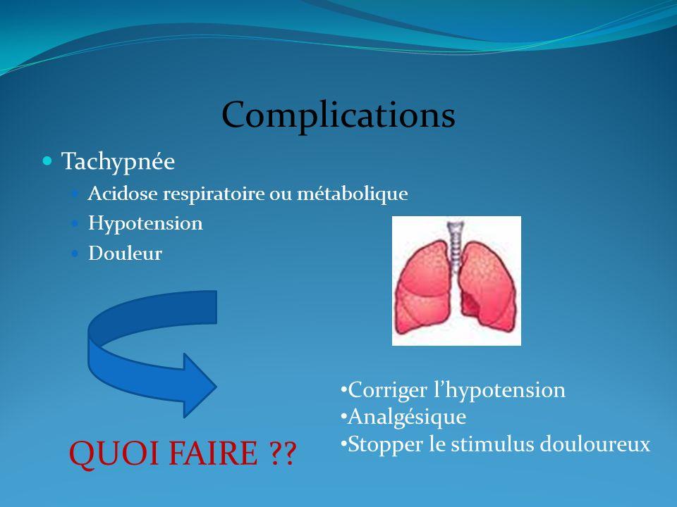 Complications QUOI FAIRE Tachypnée Corriger l'hypotension