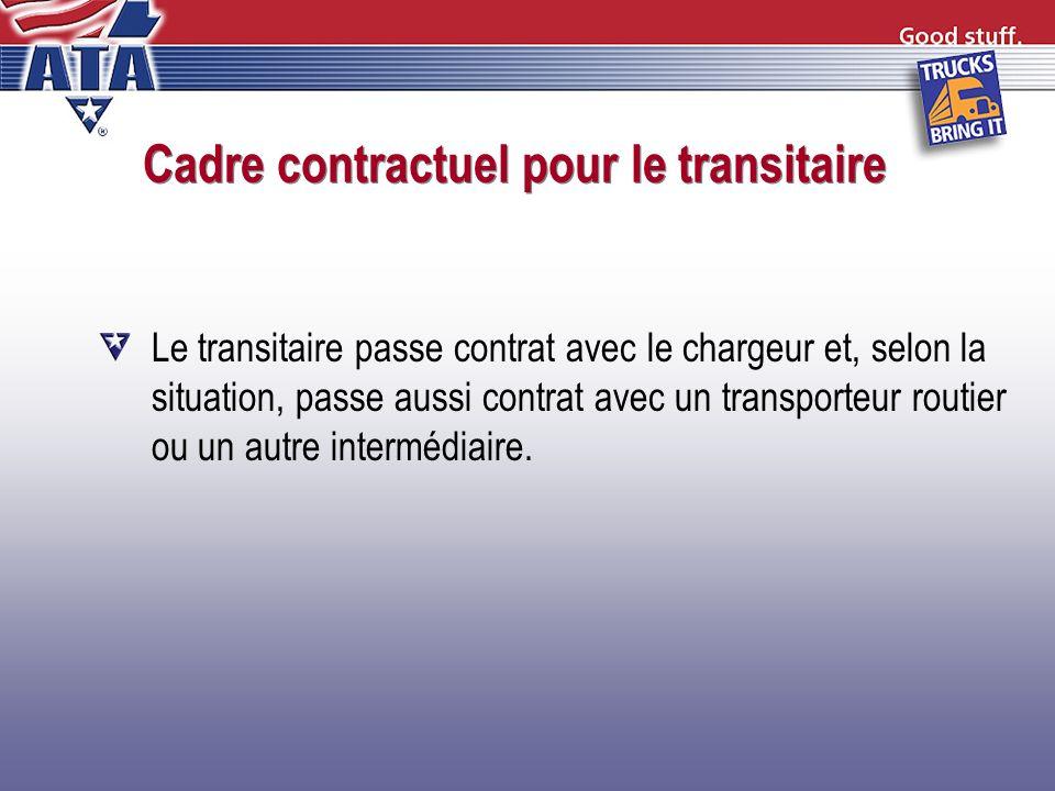 Cadre contractuel pour le transitaire