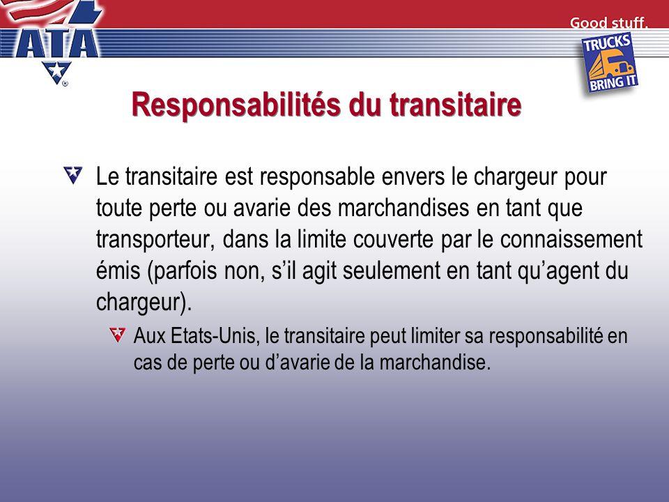 Responsabilités du transitaire