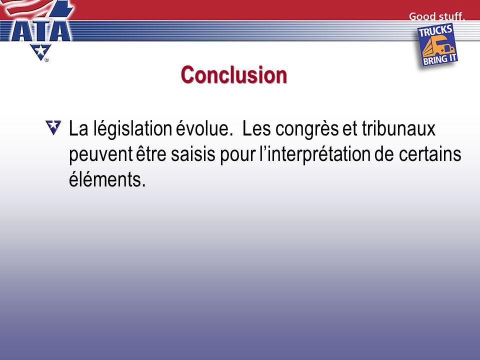 Conclusion La législation évolue.