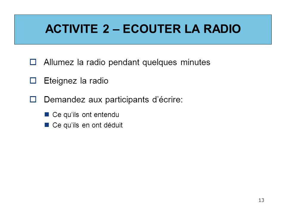 ACTIVITE 2 – ECOUTER LA RADIO