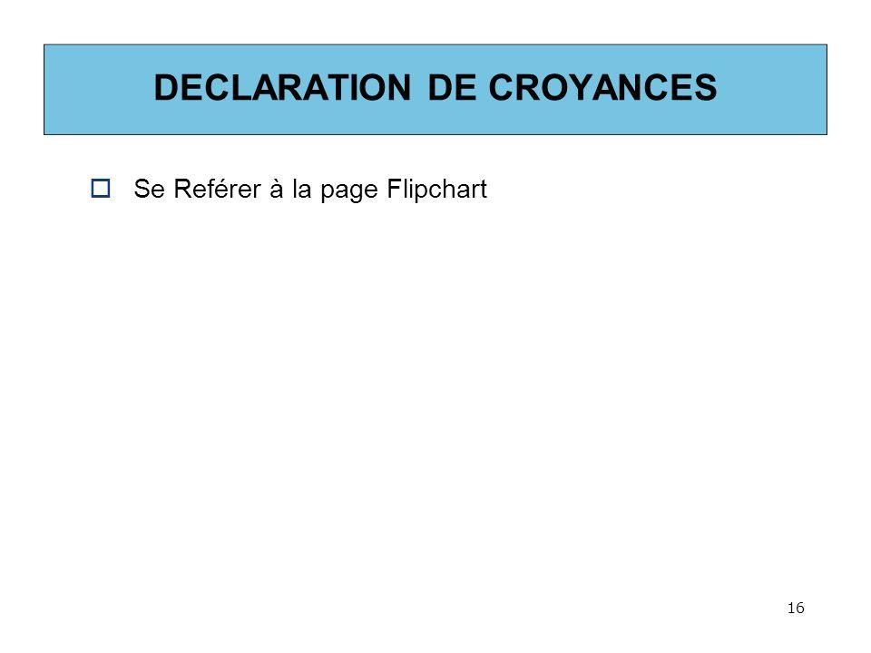 DECLARATION DE CROYANCES