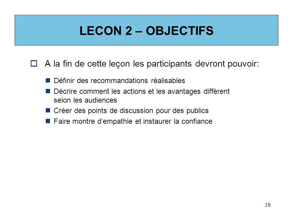 LECON 2 – OBJECTIFS A la fin de cette leçon les participants devront pouvoir: Définir des recommandations réalisables.