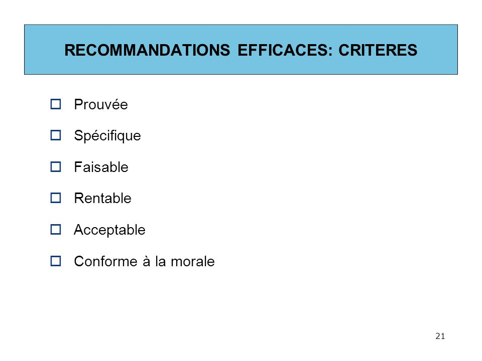 RECOMMANDATIONS EFFICACES: CRITERES