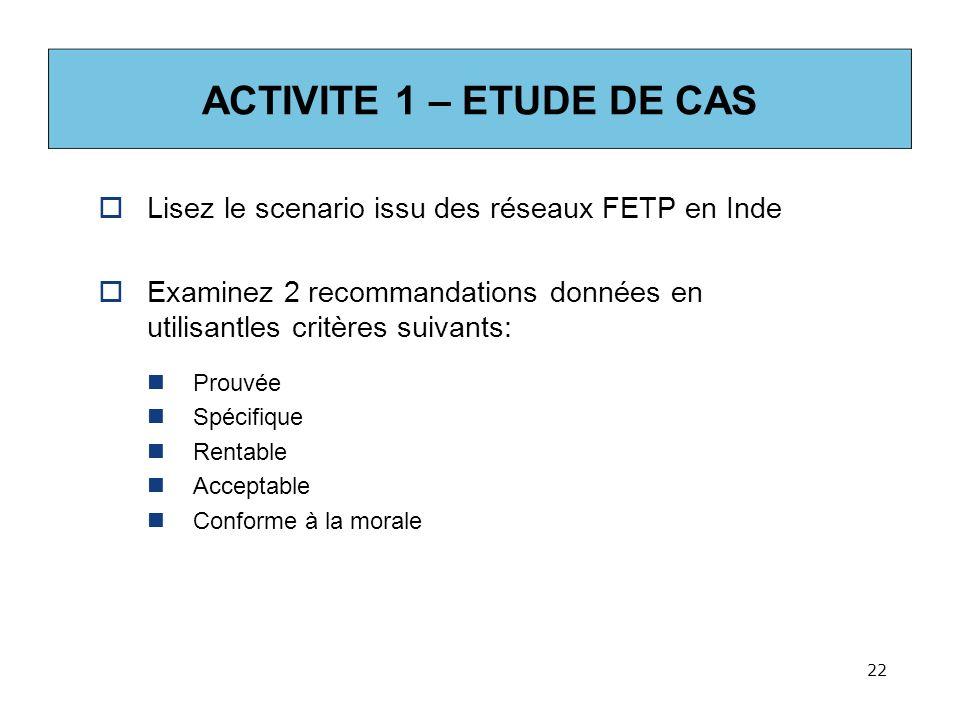 ACTIVITE 1 – ETUDE DE CAS Lisez le scenario issu des réseaux FETP en Inde. Examinez 2 recommandations données en utilisantles critères suivants: