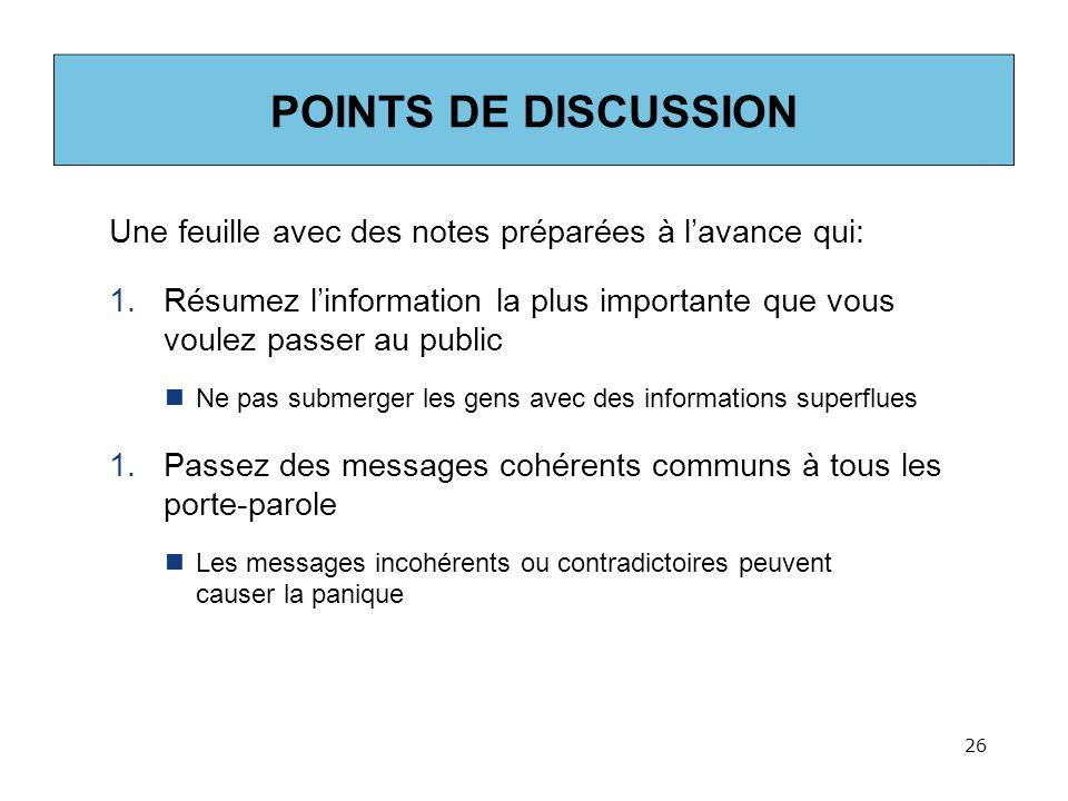 POINTS DE DISCUSSION Une feuille avec des notes préparées à l'avance qui: Résumez l'information la plus importante que vous voulez passer au public.