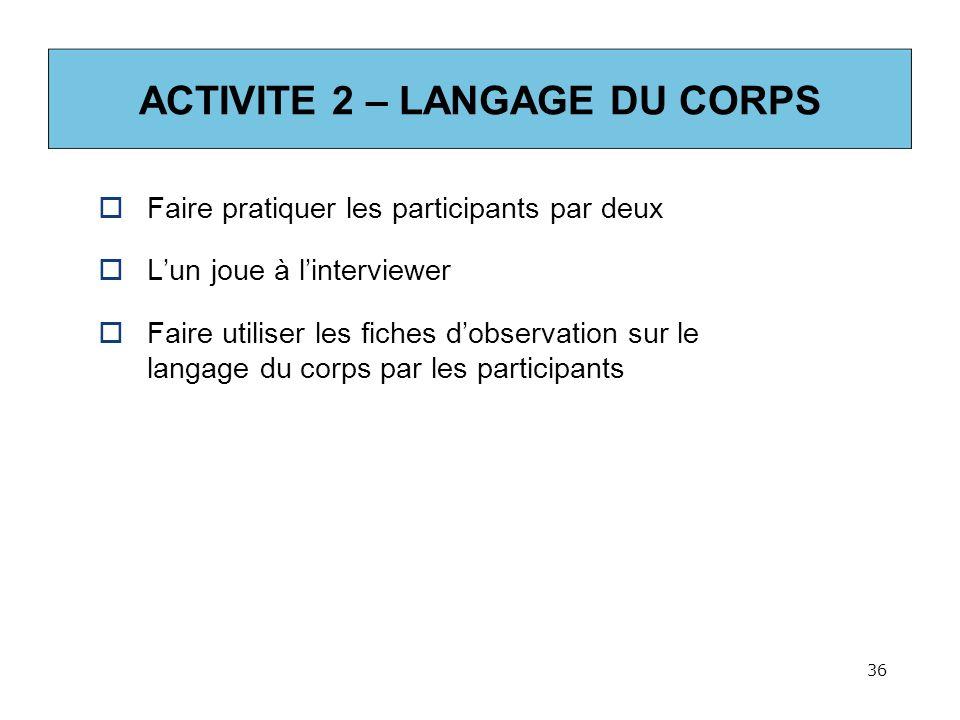 ACTIVITE 2 – LANGAGE DU CORPS