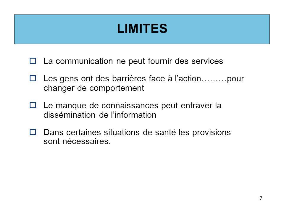 LIMITES La communication ne peut fournir des services