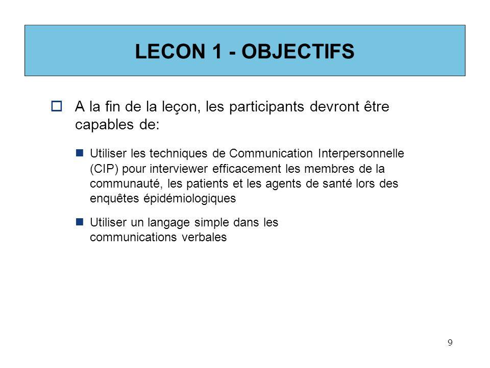 LECON 1 - OBJECTIFS A la fin de la leçon, les participants devront être capables de: