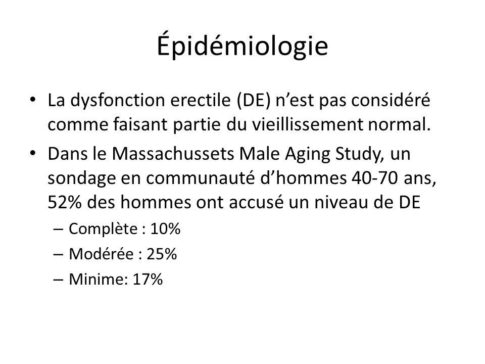 Épidémiologie La dysfonction erectile (DE) n'est pas considéré comme faisant partie du vieillissement normal.