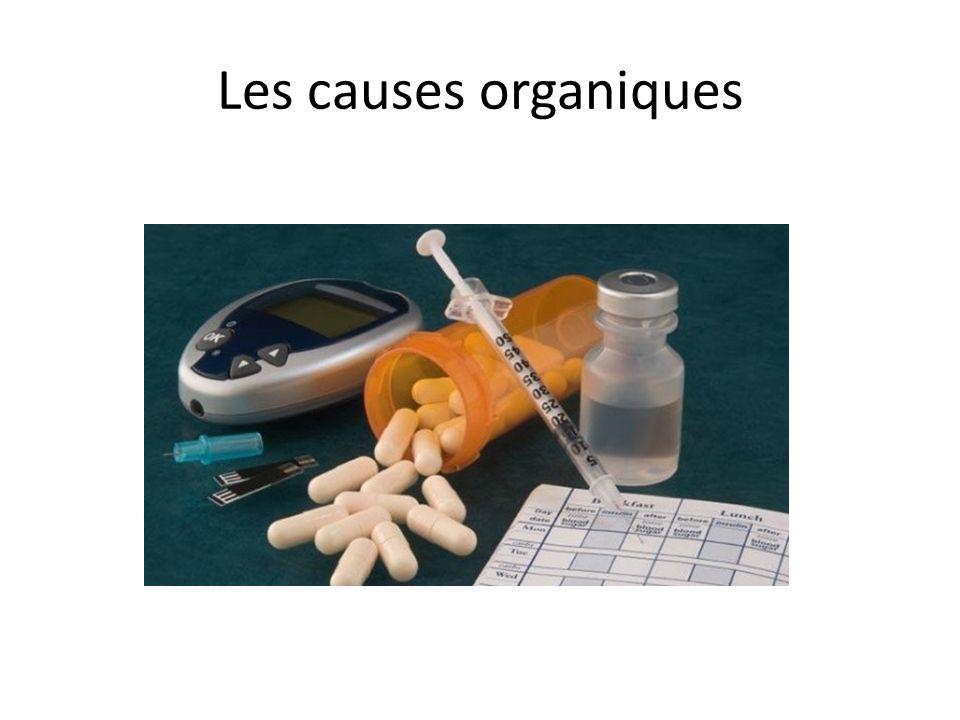 Les causes organiques FAUT PENSER À ÉLIMINER : diabète, MCAS, néoplasie de la glande pituitaire, dépression, maladie rénale;