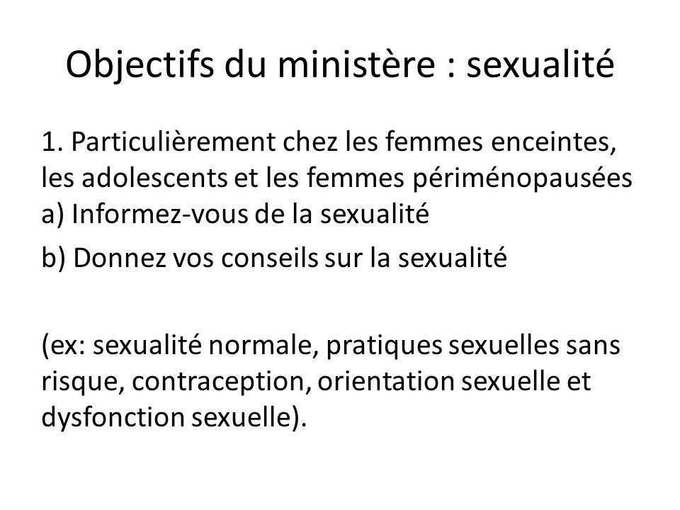 Objectifs du ministère : sexualité