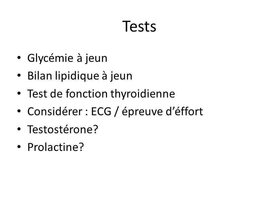 Tests Glycémie à jeun Bilan lipidique à jeun