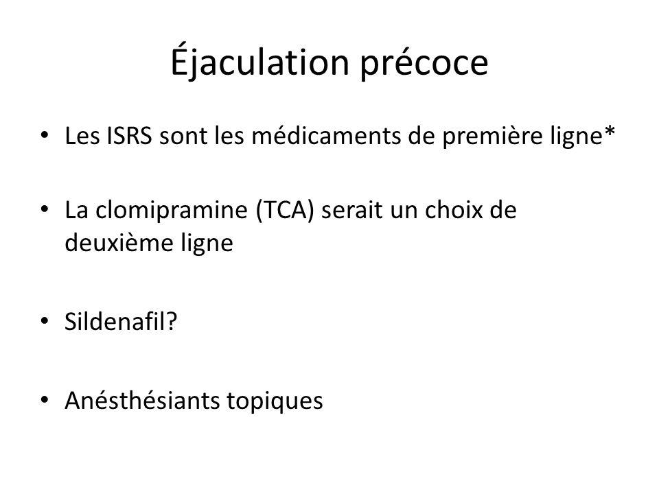 Éjaculation précoce Les ISRS sont les médicaments de première ligne*