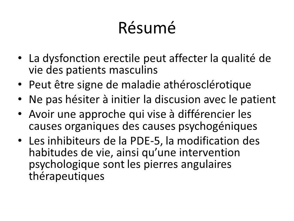 Résumé La dysfonction erectile peut affecter la qualité de vie des patients masculins. Peut être signe de maladie athérosclérotique.