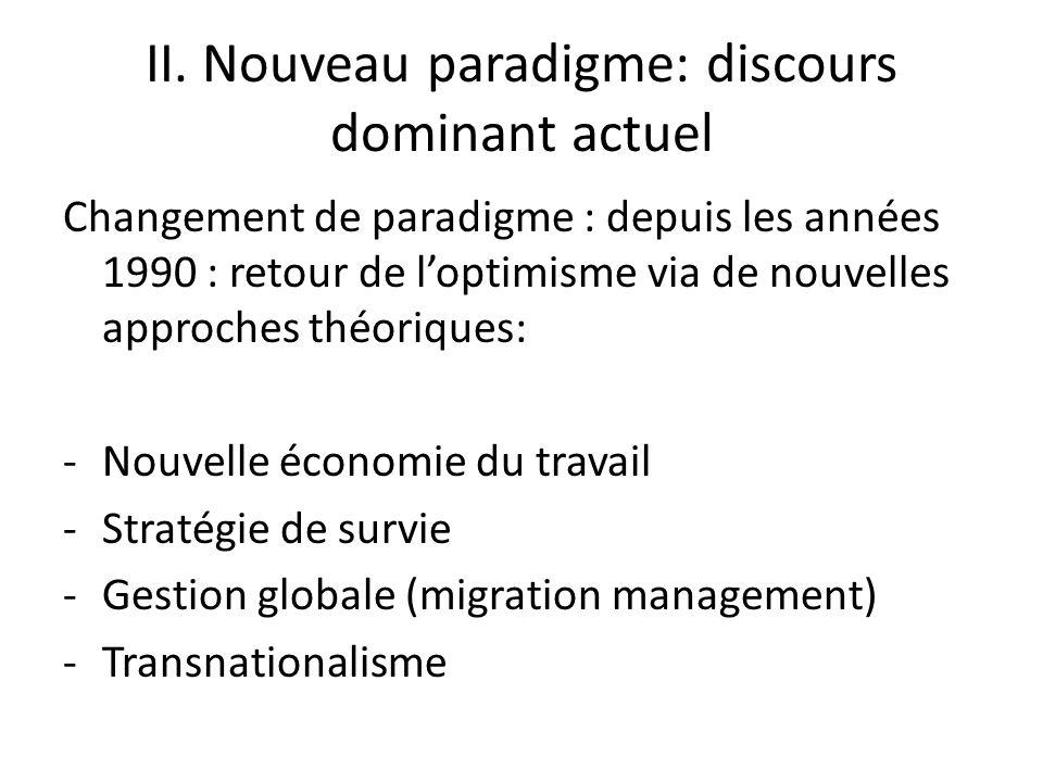 II. Nouveau paradigme: discours dominant actuel