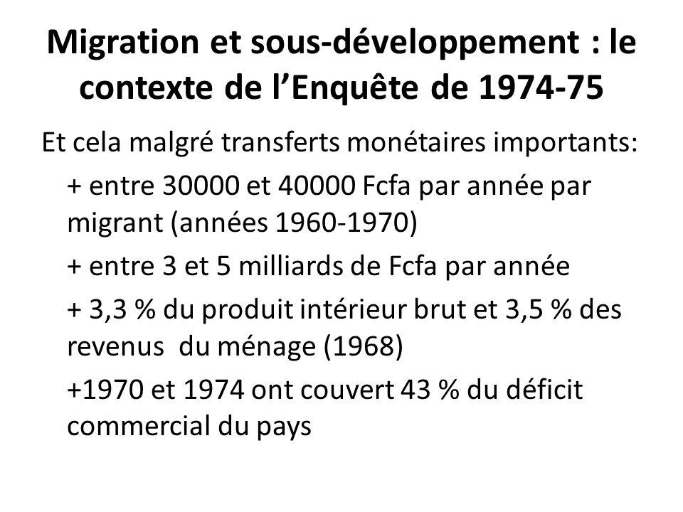 Migration et sous-développement : le contexte de l'Enquête de 1974-75