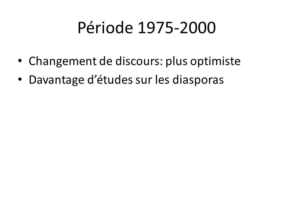Période 1975-2000 Changement de discours: plus optimiste