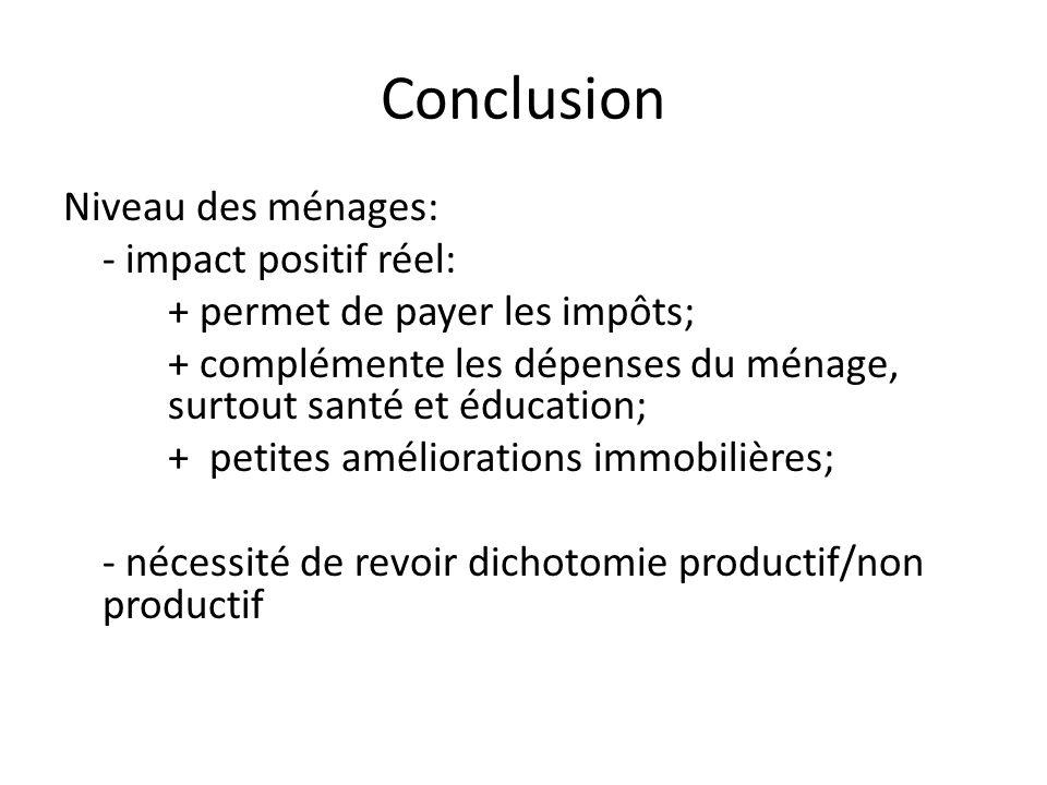 Conclusion Niveau des ménages: - impact positif réel: