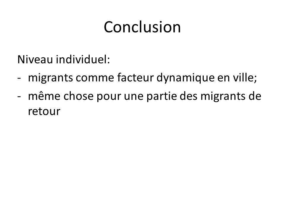 Conclusion Niveau individuel:
