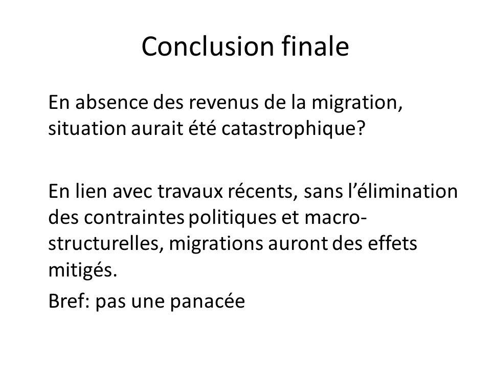 Conclusion finale En absence des revenus de la migration, situation aurait été catastrophique