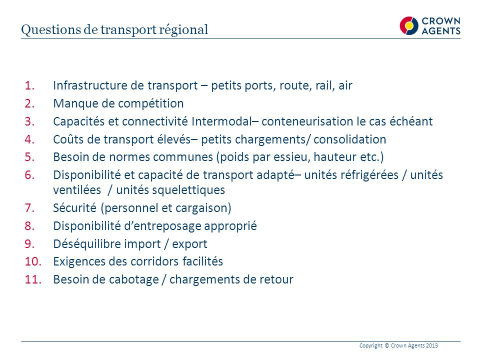 Questions de transport régional