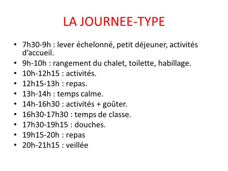 LA JOURNEE-TYPE 7h30-9h : lever échelonné, petit déjeuner, activités d'accueil. 9h-10h : rangement du chalet, toilette, habillage.