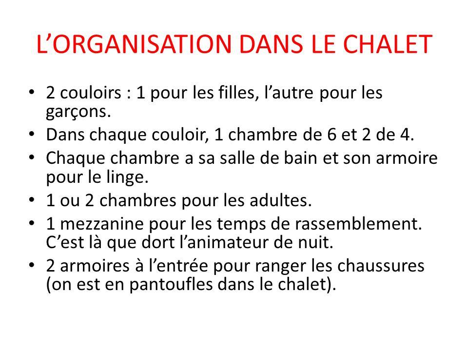L'ORGANISATION DANS LE CHALET