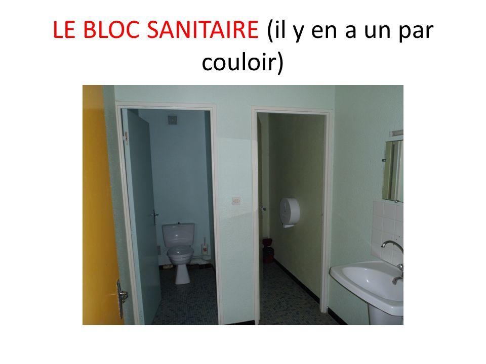 LE BLOC SANITAIRE (il y en a un par couloir)