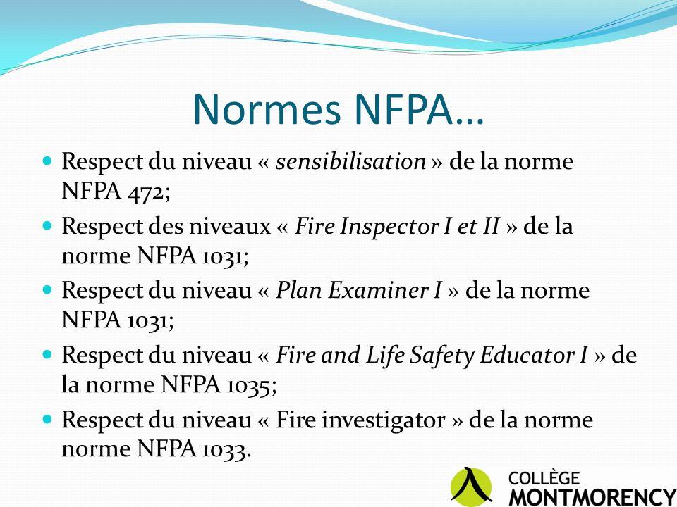 Normes NFPA… Respect du niveau « sensibilisation » de la norme NFPA 472; Respect des niveaux « Fire Inspector I et II » de la norme NFPA 1031;