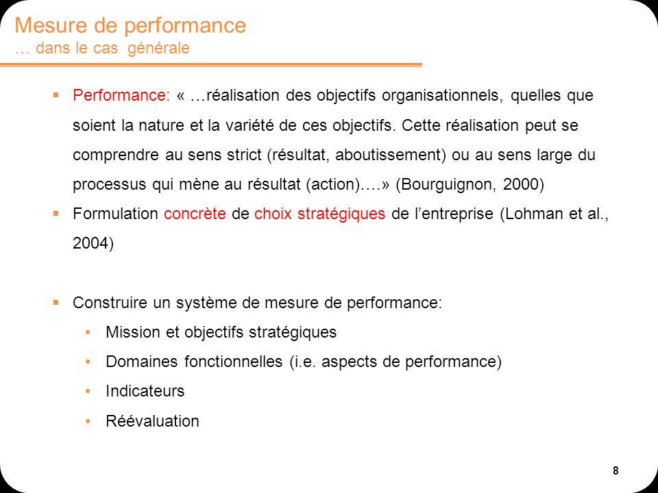 Mesure de performance … dans le cas générale