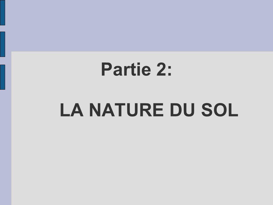 Partie 2: LA NATURE DU SOL