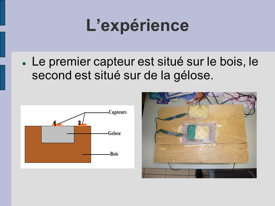 L'expérience Le premier capteur est situé sur le bois, le second est situé sur de la gélose.