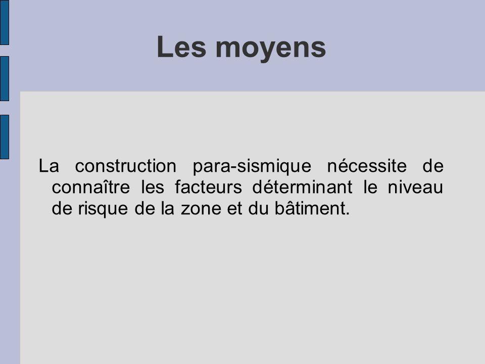 Les moyens La construction para-sismique nécessite de connaître les facteurs déterminant le niveau de risque de la zone et du bâtiment.