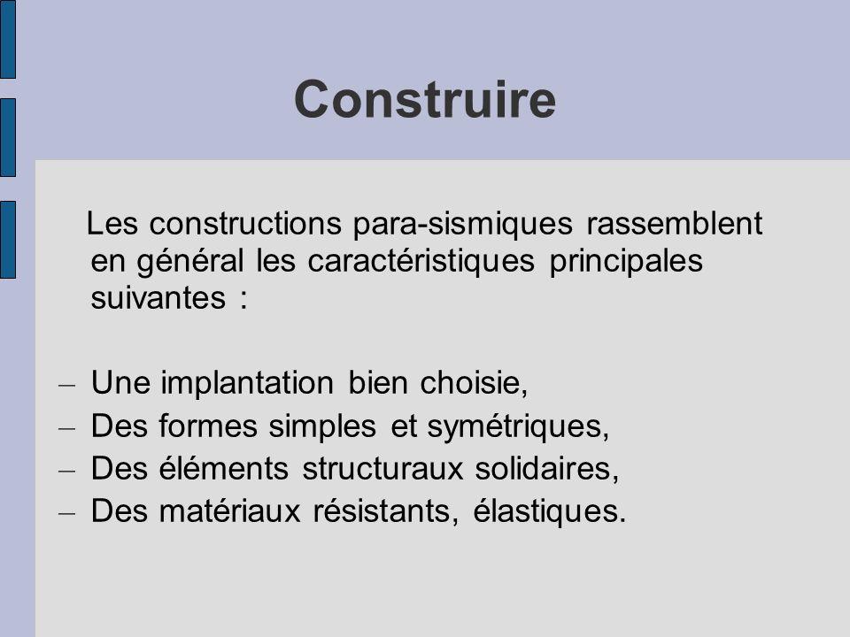 Construire Les constructions para-sismiques rassemblent en général les caractéristiques principales suivantes :