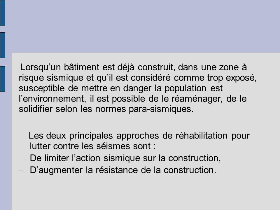 De limiter l'action sismique sur la construction,