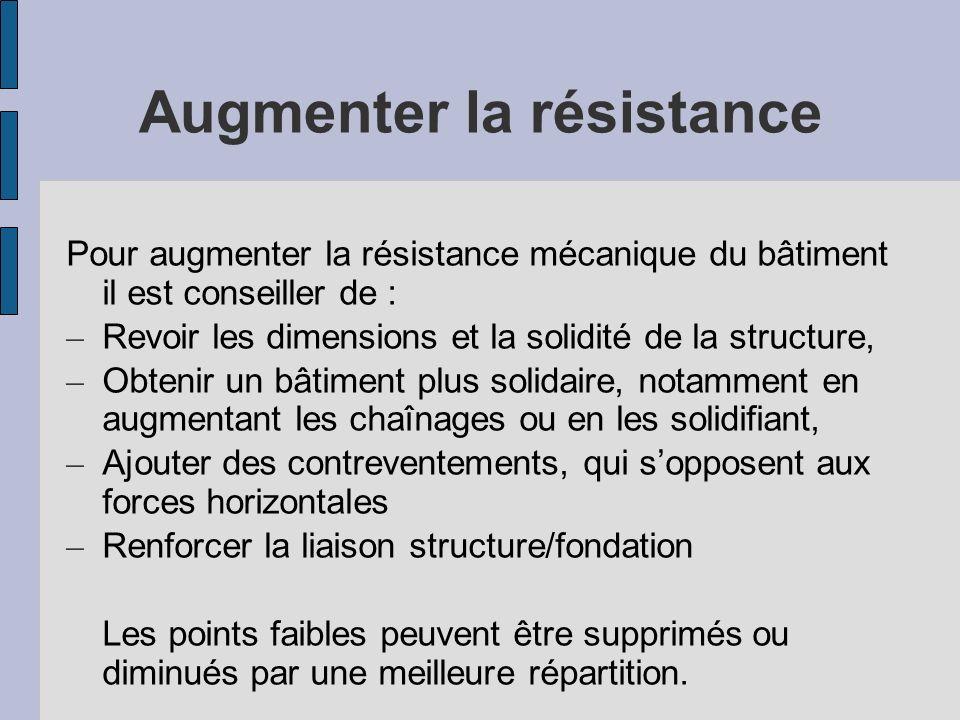 Augmenter la résistance