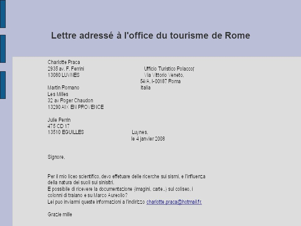 Lettre adressé à l office du tourisme de Rome