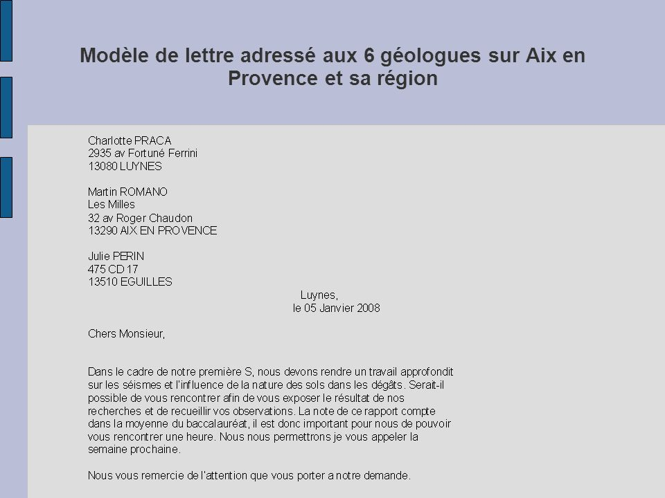 Modèle de lettre adressé aux 6 géologues sur Aix en Provence et sa région