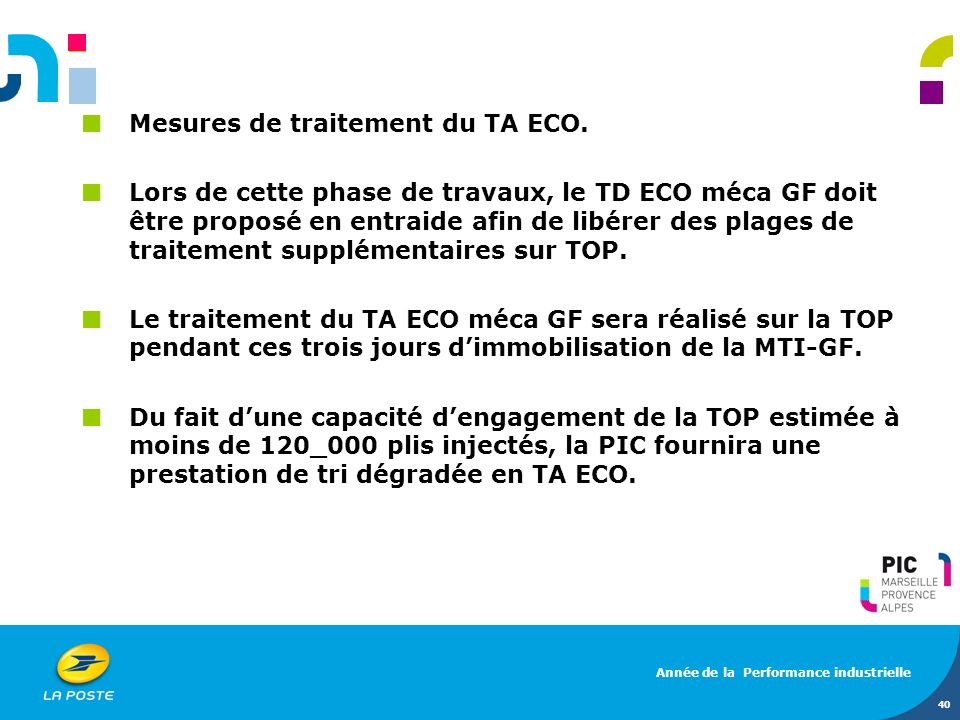 Mesures de traitement du TA ECO.