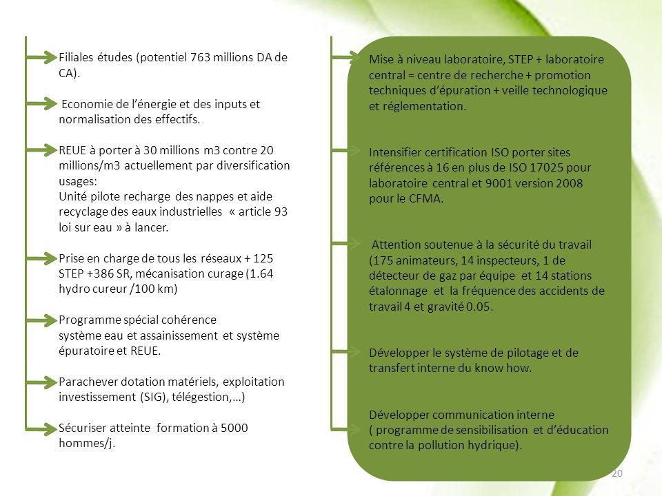 Filiales études (potentiel 763 millions DA de CA).