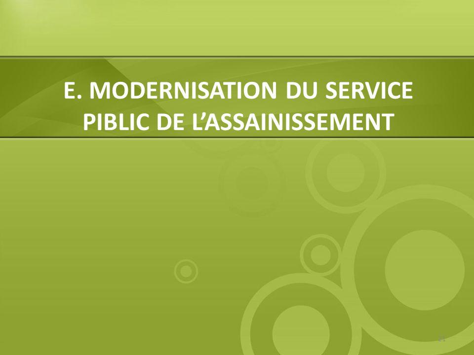 E. MODERNISATION DU SERVICE PIBLIC DE L'ASSAINISSEMENT