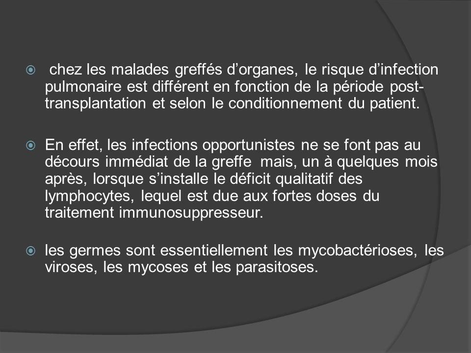 chez les malades greffés d'organes, le risque d'infection pulmonaire est différent en fonction de la période post-transplantation et selon le conditionnement du patient.